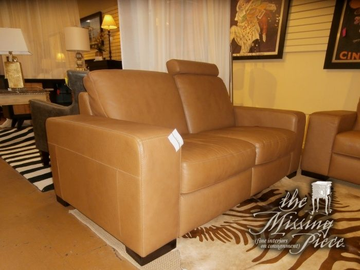Natuzzi Leather Loveseat With Its Single Adjustable Headrest And Padded Footrest In Addition