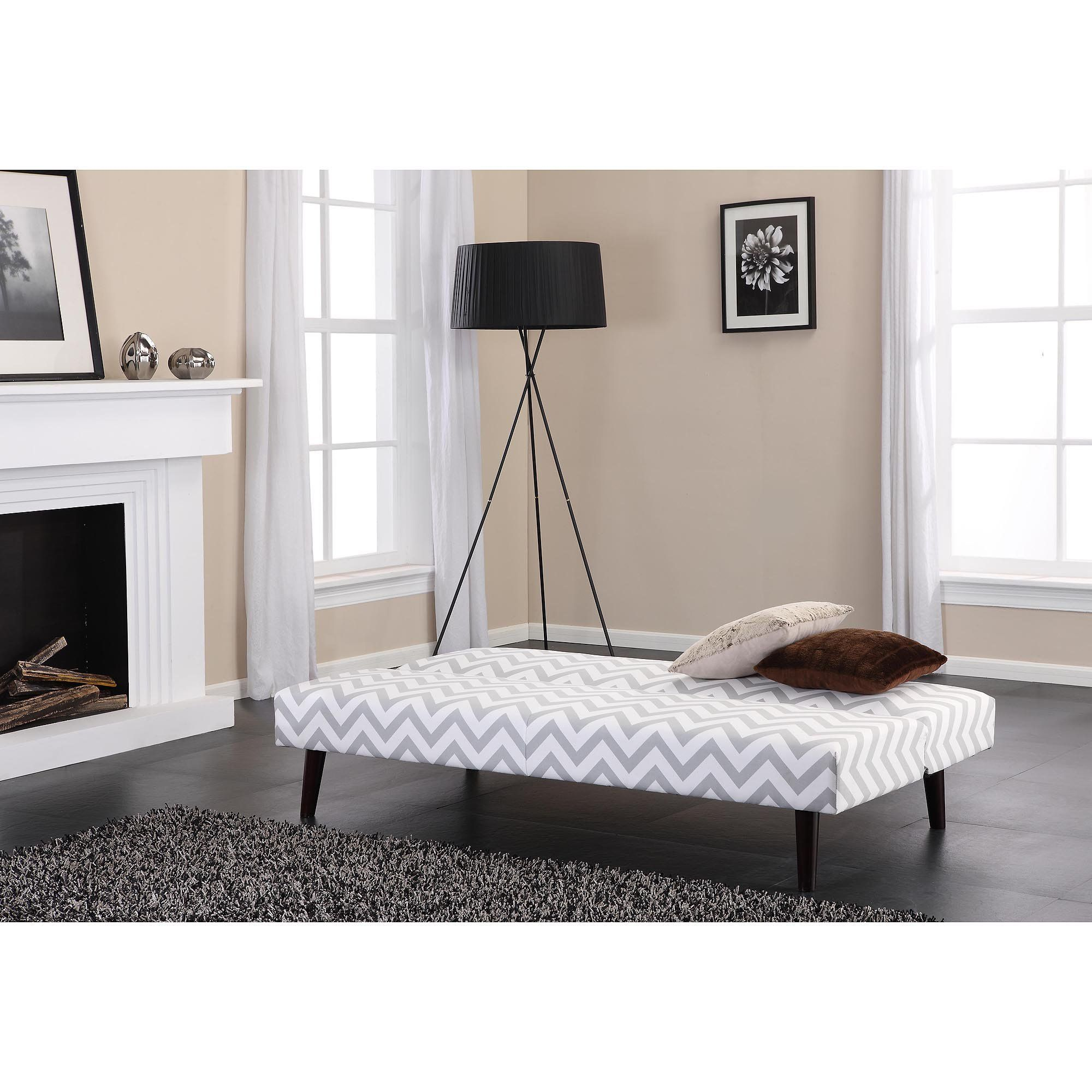 Contemporary Gray/White Futon Wooden Legs Living Room
