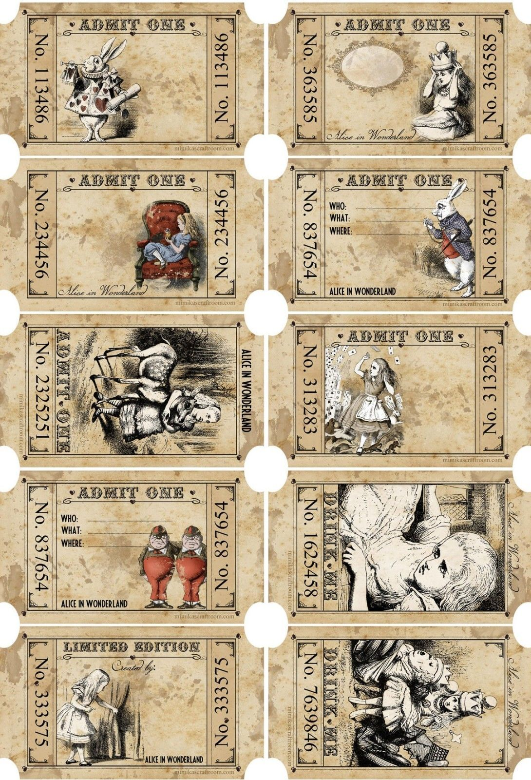 Details About Alice In Wonderland 15 Party Favors Tea Party Tickets Scrapbooking Crafts