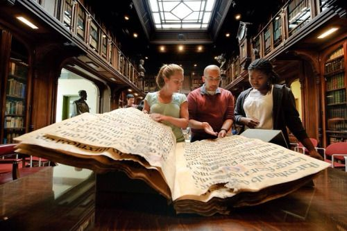 a choir book from the 16th century | Choir books needed to be big because they were used by a half circle of singers gathered around it in a church setting.