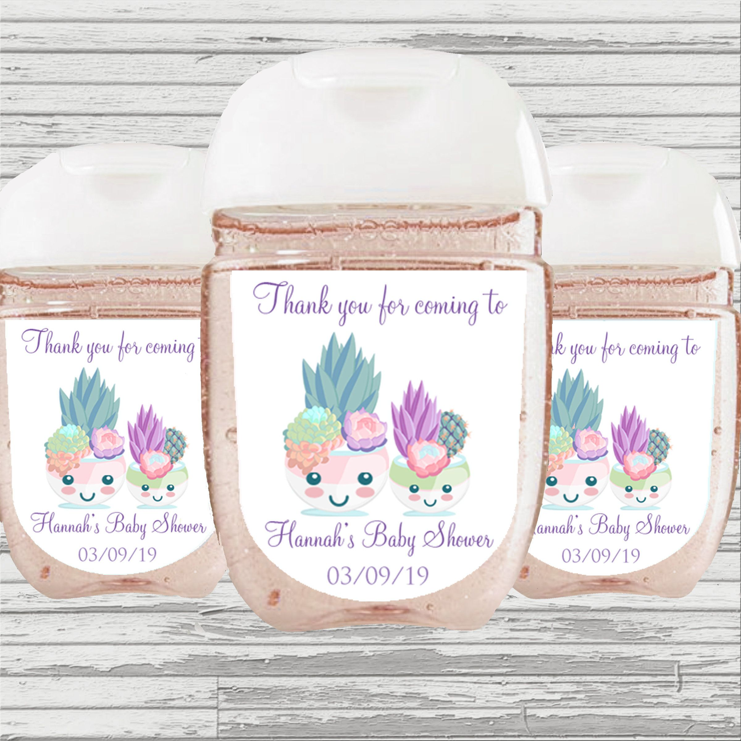 Succulents Baby Shower Favor Hand Sanitizer Label Digital File