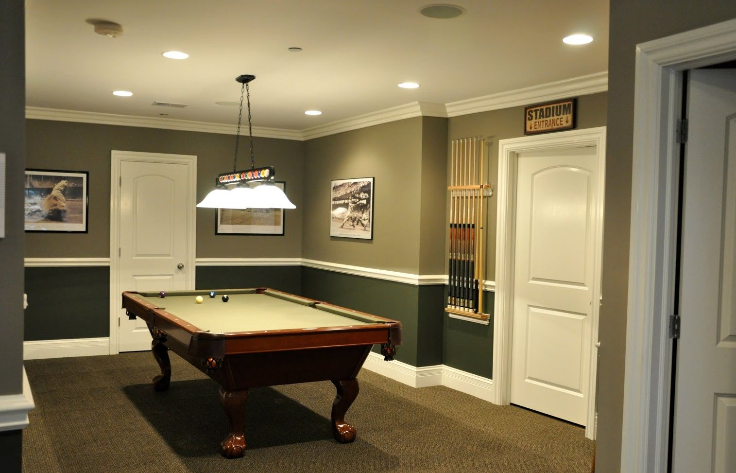 Browse Basement Pictures Discover A Variety Of Finished Basement Ideas Layouts And Decor To Inspire Y Basement Wall Colors Pool Table Room Game Room Basement