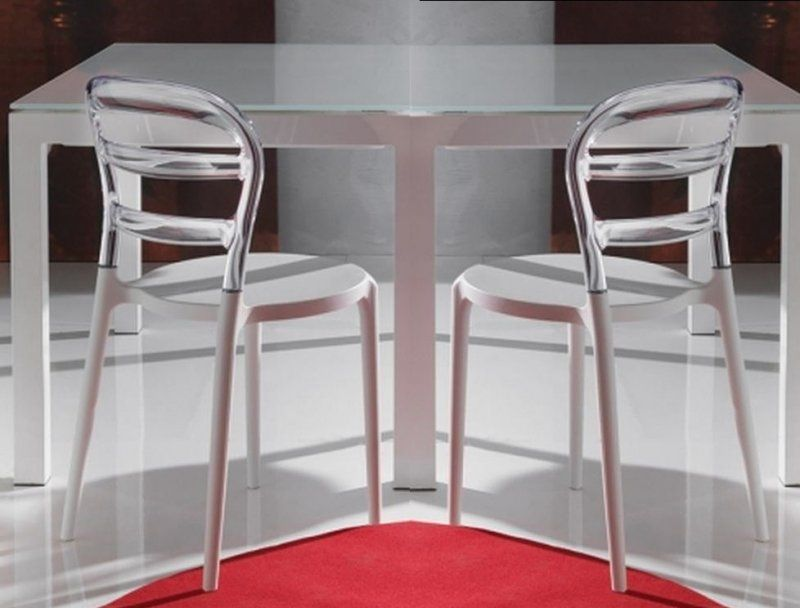 Lot De 2 Chaises Design Dejavu En Plexiglas Transparent Et Blanc