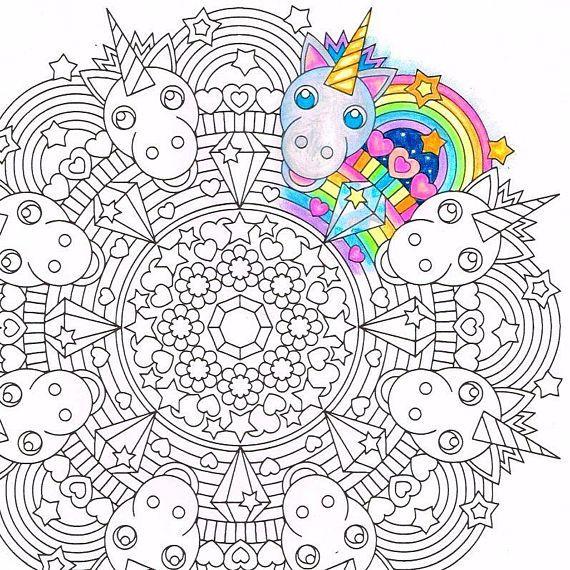 Rainbow Unicorn - Mandala Coloring Page - printable ...