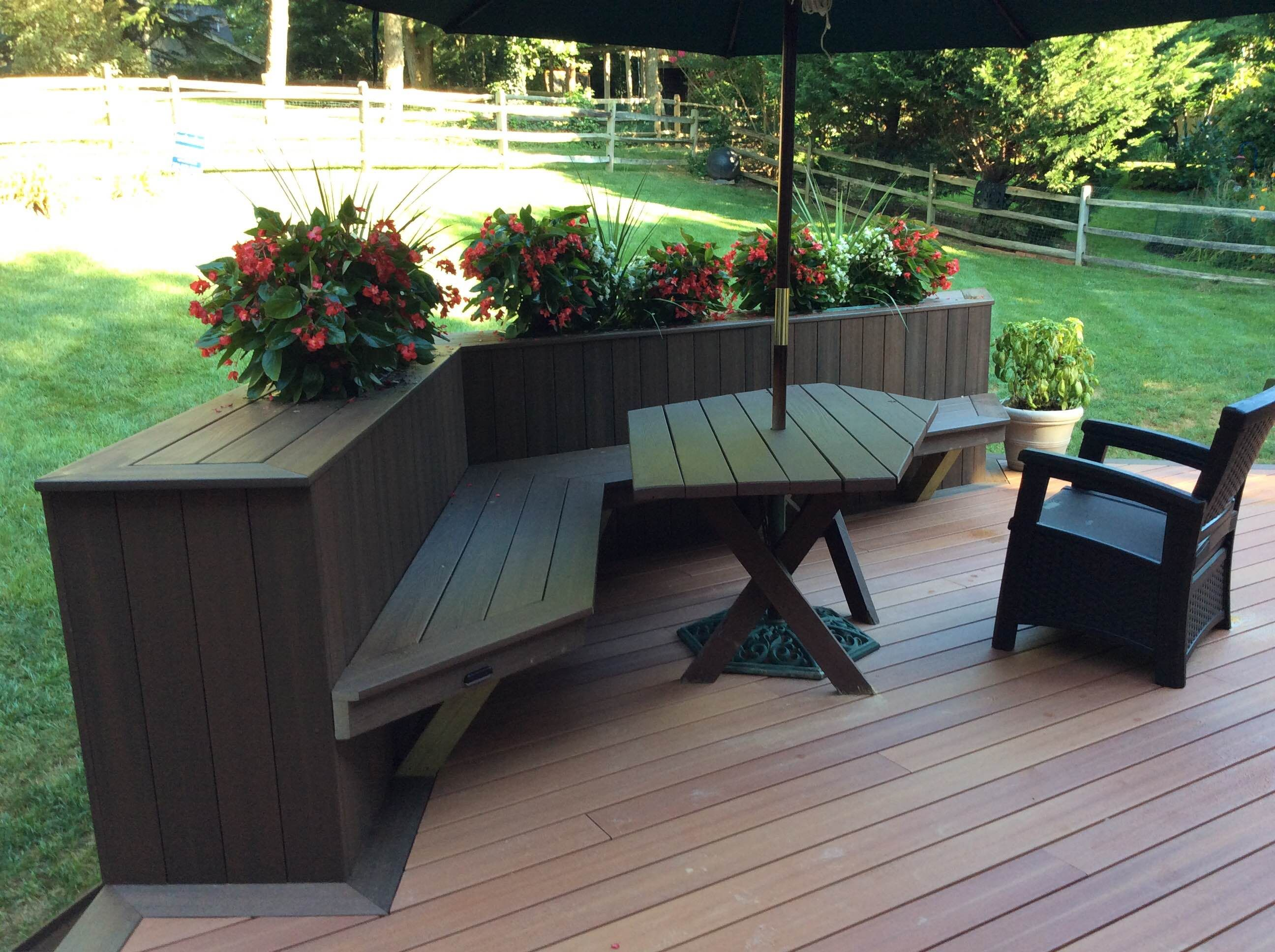 Plenty of space for outdoor dining fences decks patios for Garden decking planters
