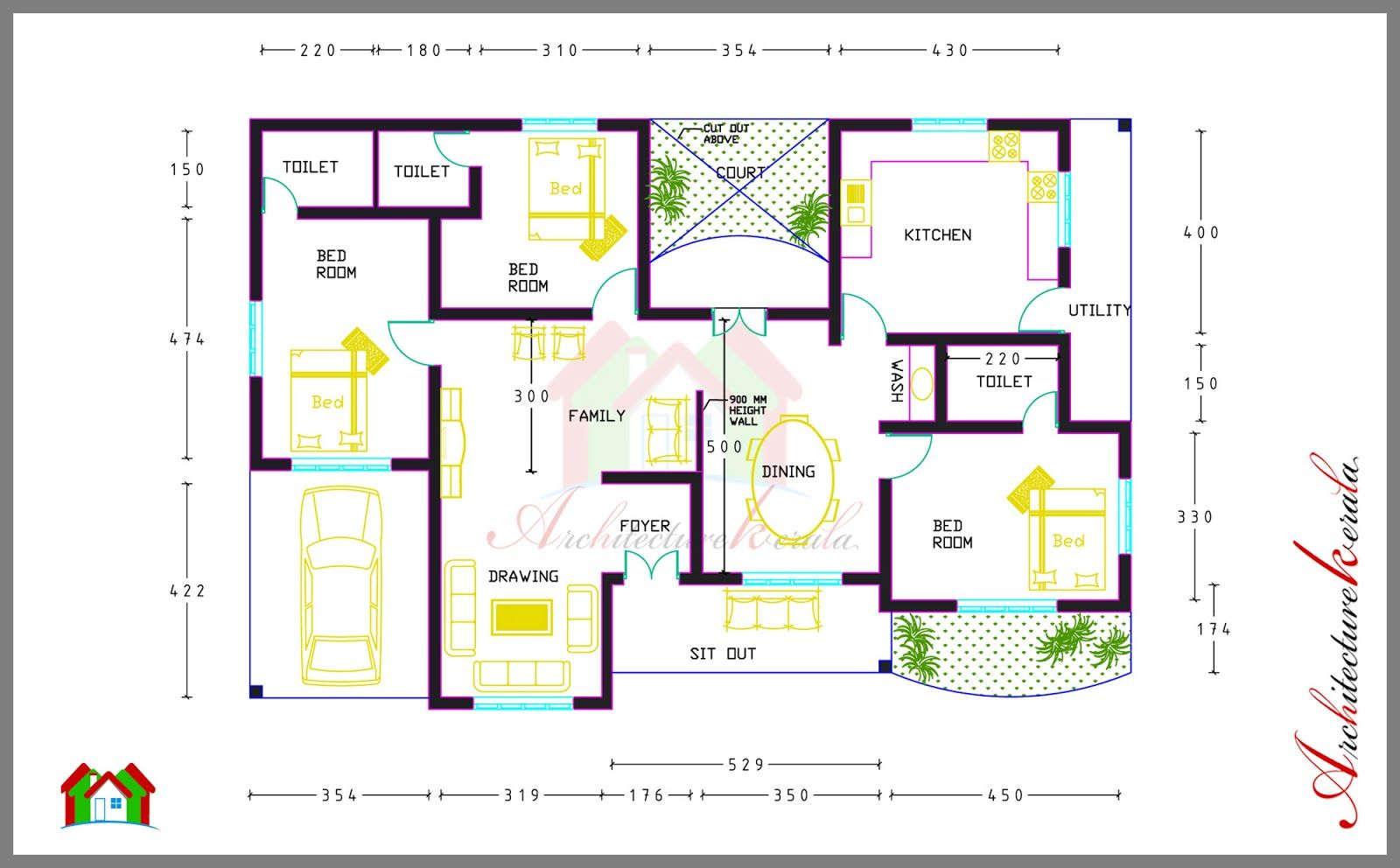 South Indian House Design Plans In 2020 New House Plans House Plans With Photos Architectural House Plans