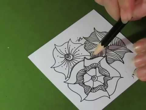 Heart And Flower A Daily Tangle Youtube Zentangle Patterns Doodle Art Designs Tangled