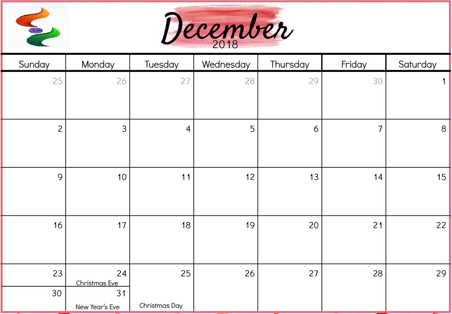 picture regarding December Calendar Printable With Holidays named December 2018 Calendar India Printable 100+ December 2018