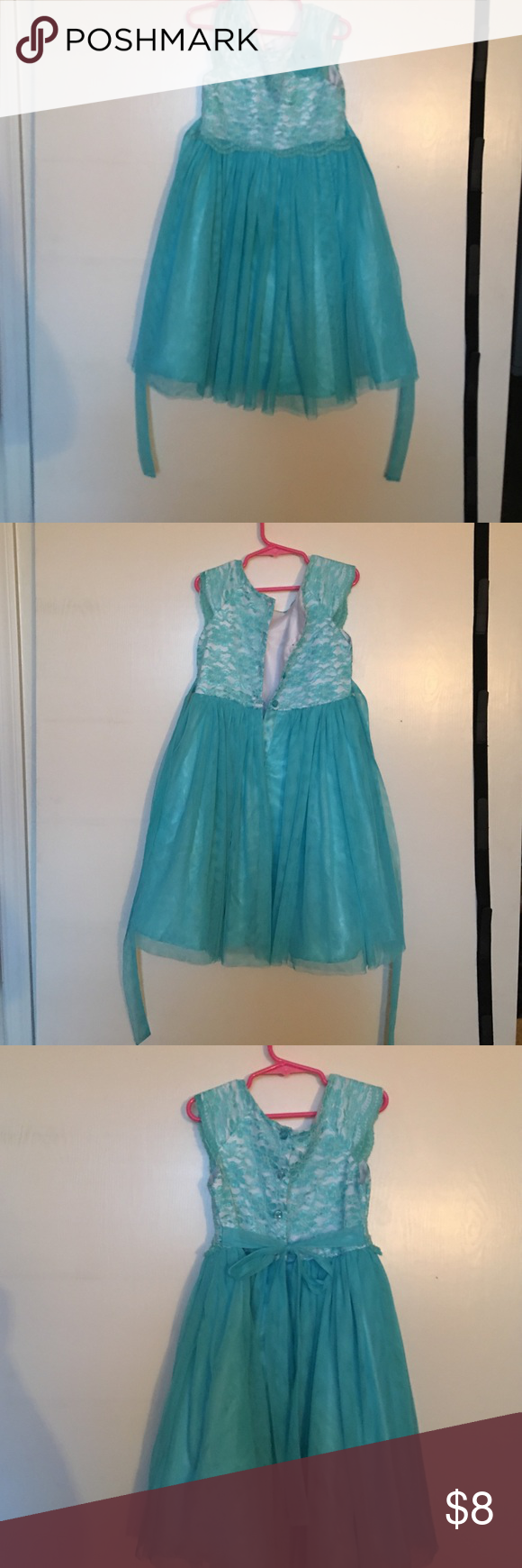 Dress Party aqua color dress gently used costco Dresses Formal | My ...