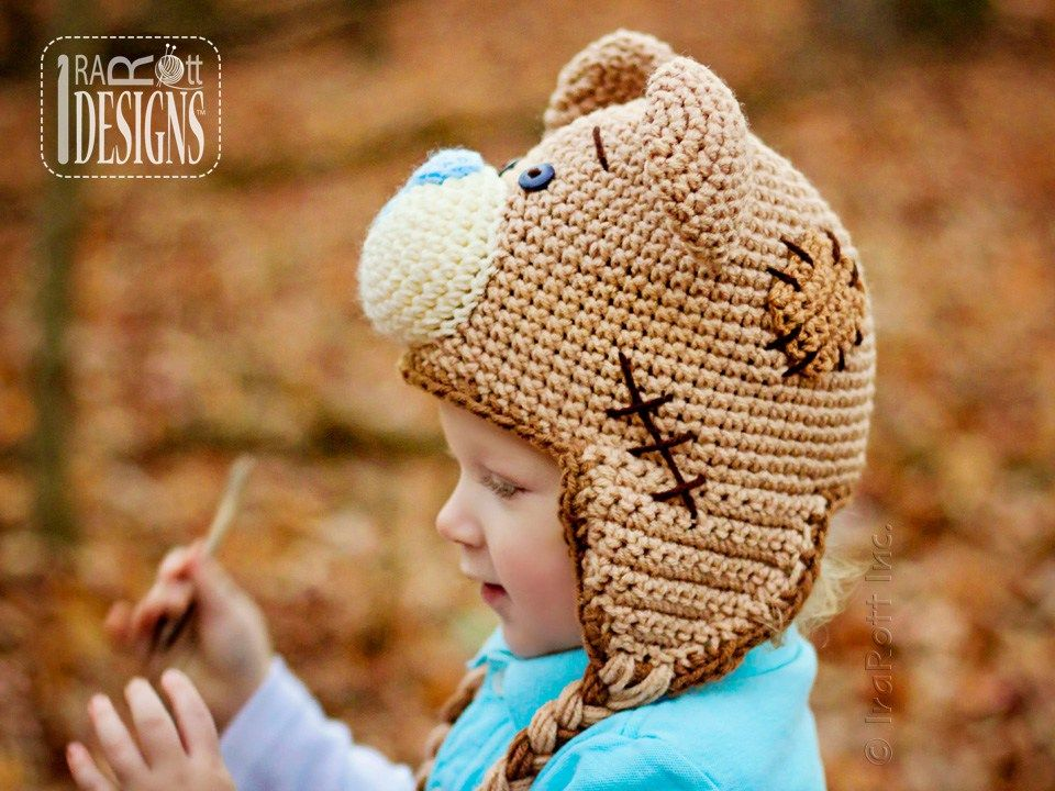 4e7edc0ae23 Teddy Bear Animal Hat Crochet Pattern for Babies Kids and Adults by IraRott