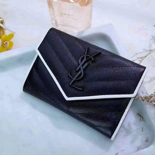 f94af8e6e57d 2017 Saint Laurent Small Monogram Envelope Wallet in Black and Dove White Grain  de Poudre Textured Matelasse Leather