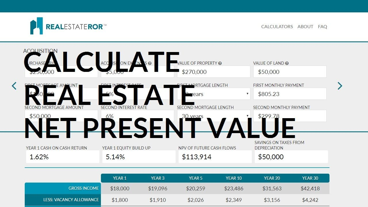 Calculating Real Estate Net Present Value To Visit This Real