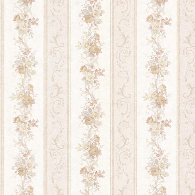 Elegant Vintage Rose englische Landhaus Satintapeten Blumen Streifen Art Nr