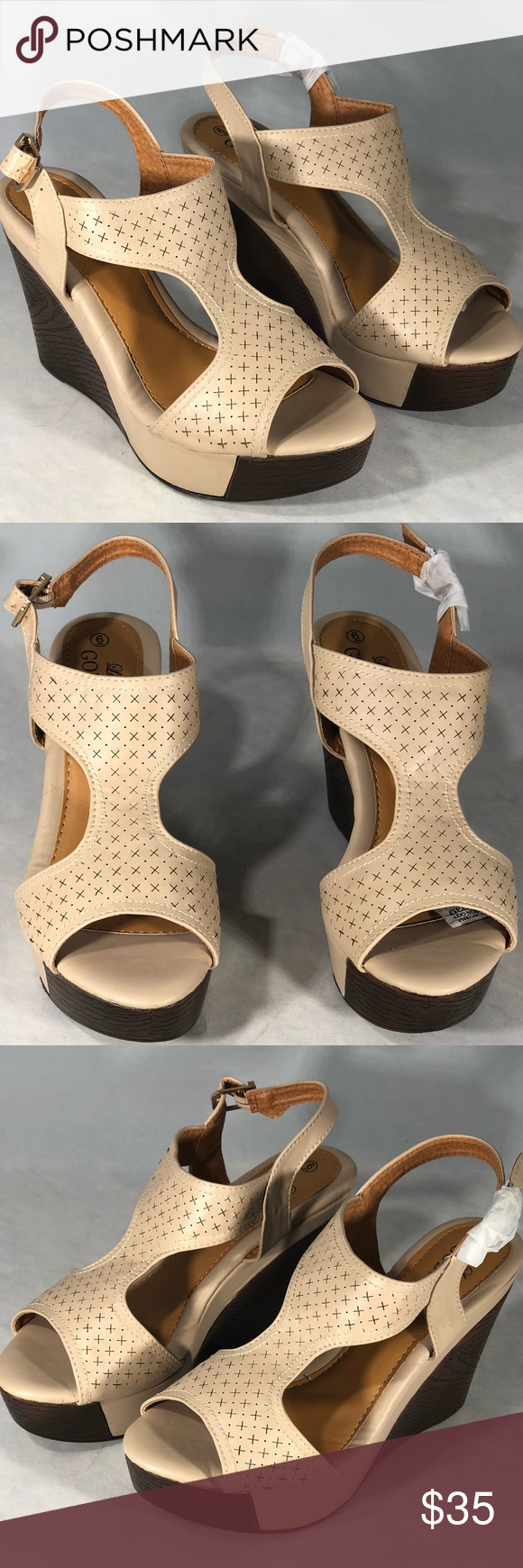 269cd0ff56a9 Lady Godiva Women s T-Strap Wedge Sandals Lady Godiva Women s T-Strap Wedge  Sandals Size 6 Color Beige Step out in style with these t-strap sandals  with ...