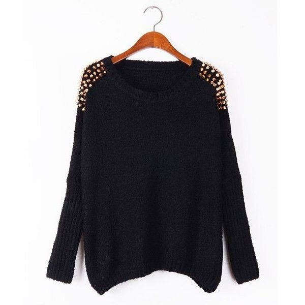 Stylish Scoop Neck Rivet Shoulders Batwing Sleeve Sweater For Women |... (€21) ❤ liked on Polyvore featuring tops, sweaters, scoop neck top, scoop neck sweater, henley tops, henley sweater and batwing sleeve tops