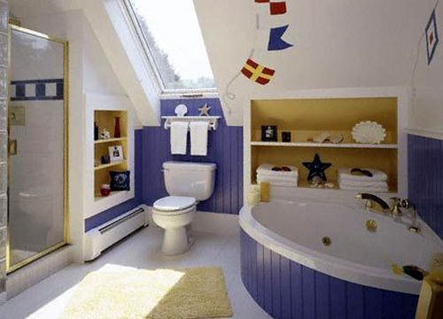Simple Cute And Adorable Kids Bathroom Design Idea With White And Blue Color