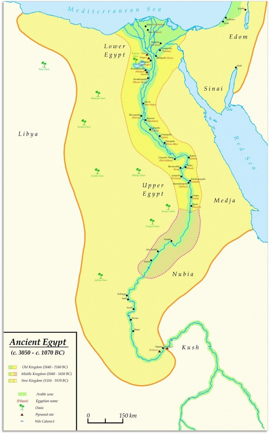 Egypt Old Kingdom Map Old Kingdom, Middle Kingdom and New Kingdom   Territorial