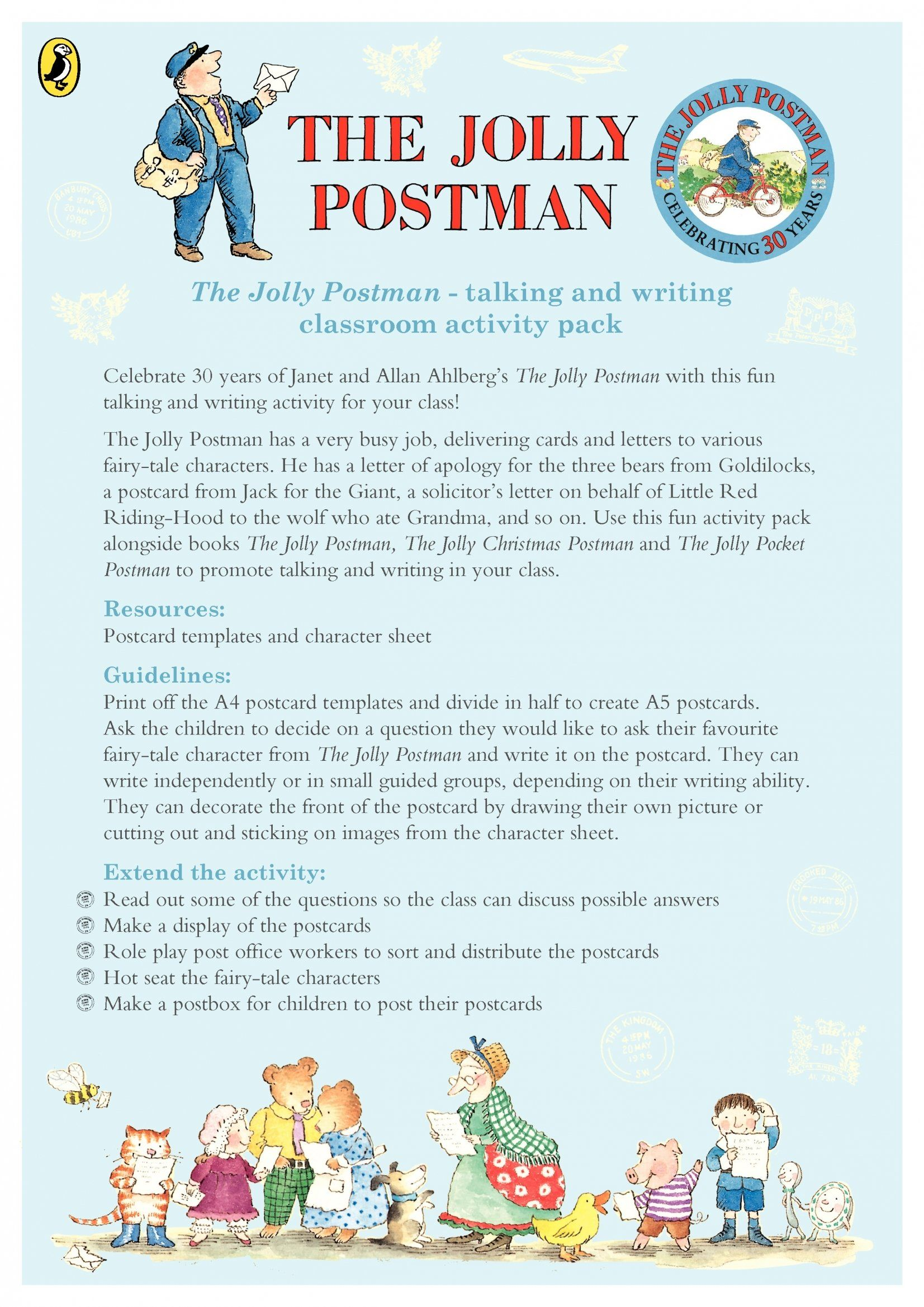 The Jolly Postman - talking and writing activity pack | local area ...