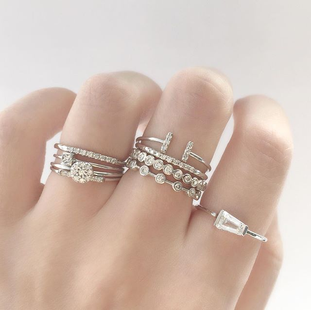 stacked stacking collections rings large and stone strand