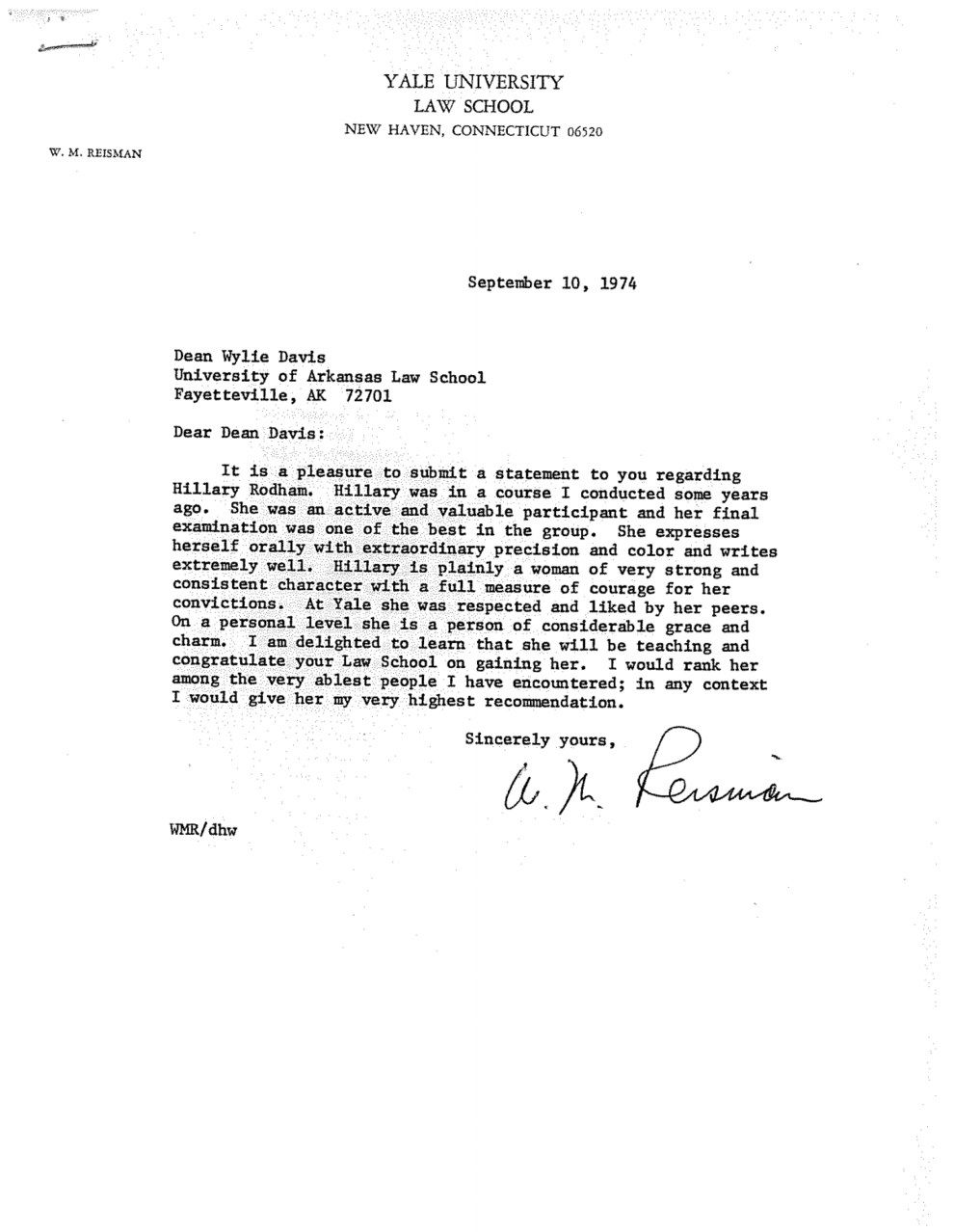 A letter of recommendation from Yale law professor W.M. Reisman