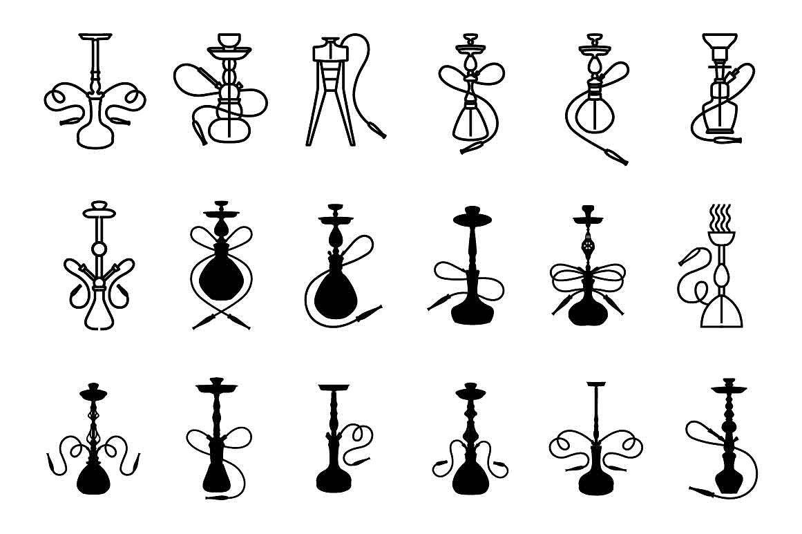 Hookah Icon Set Hookah Mini Tattoos Inspirational Tattoos