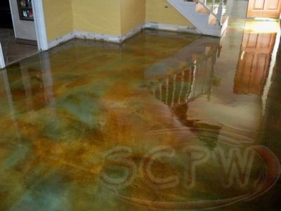 Olive And Brick Acid Stain Concrete   Google Search