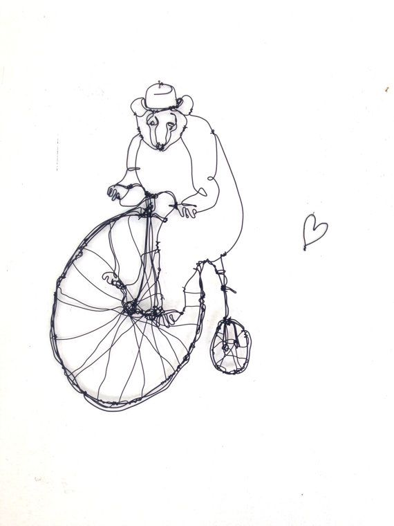Wire wall art - Bear riding bike - wire sculpture - Baby Shower Gift ...