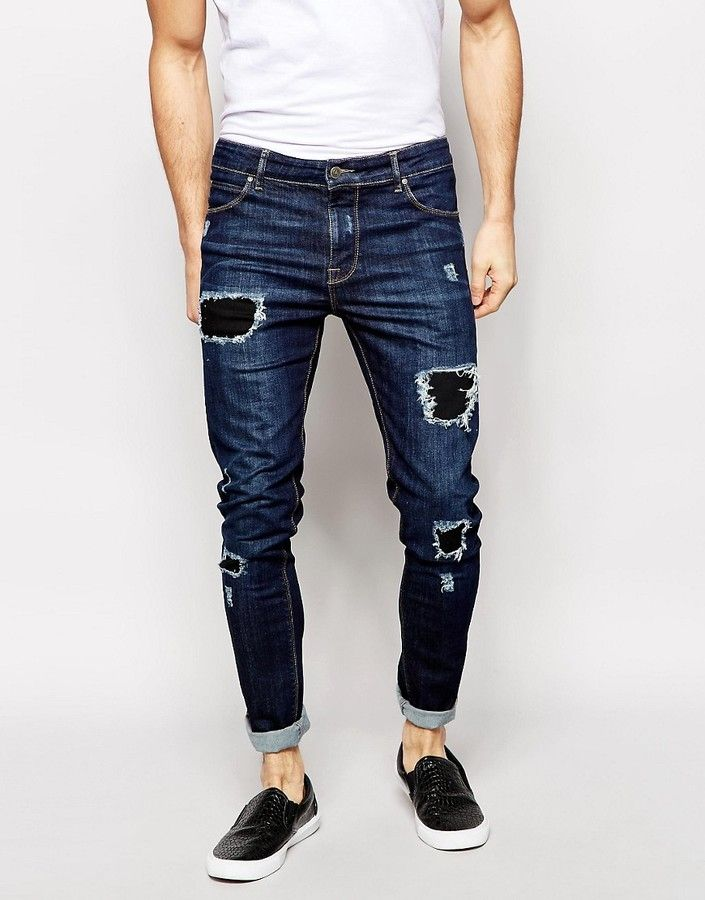 4e2663f70b ASOS Super Skinny Jeans With Rips
