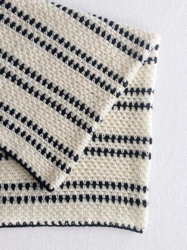 Crochet Black and White Modern Moss Stitch Blanket - Daisy Farm ...