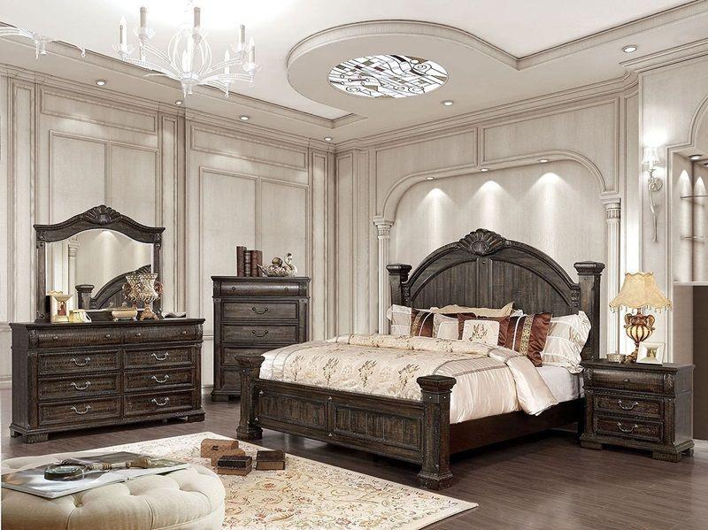 Genevieve Distressed Walnut Wood Bedroom Set Large 4 Post Bed