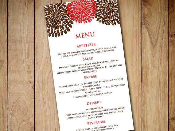 chrysanthemum wedding menu card template wedding reception menu