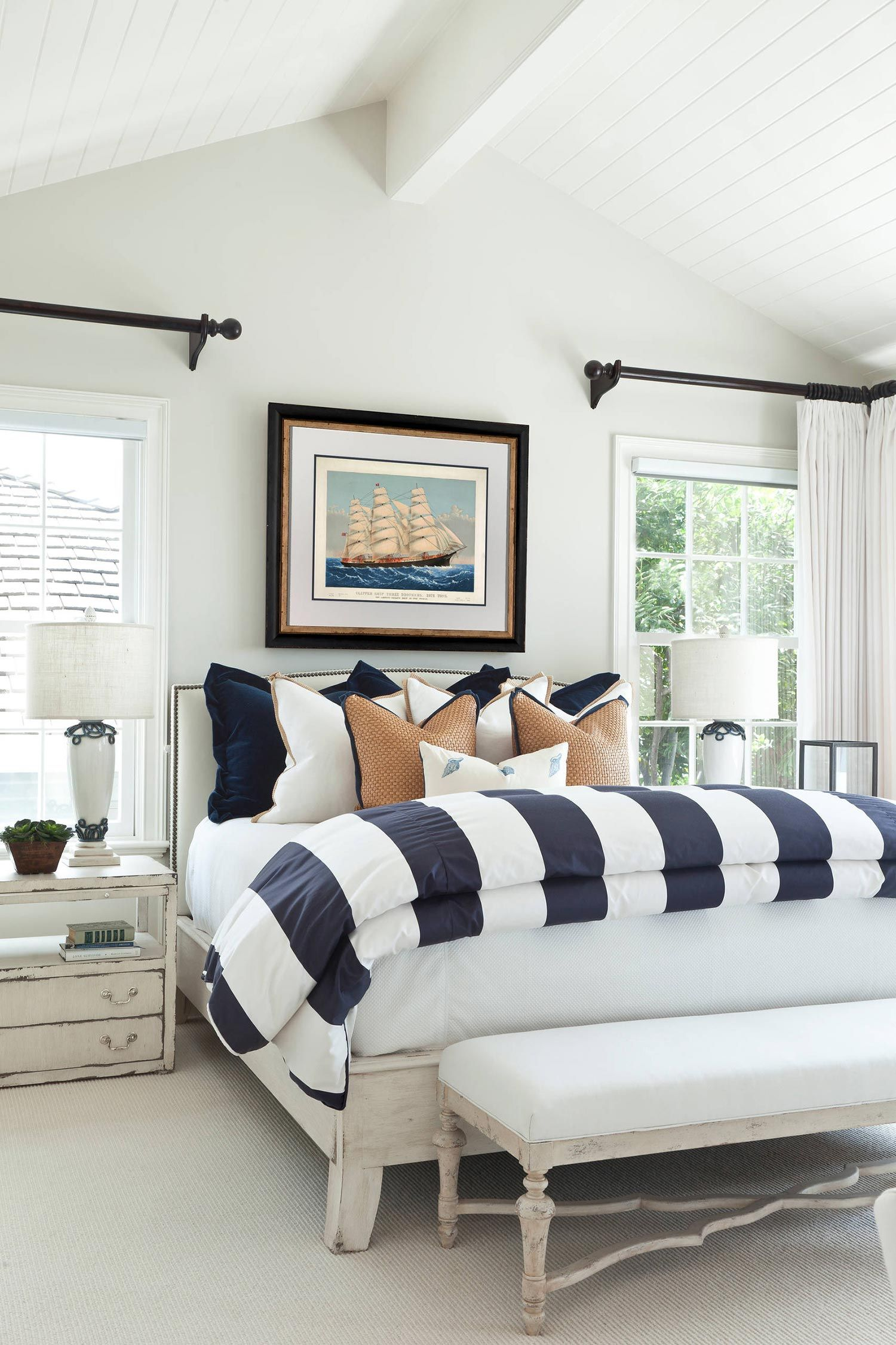 House Tour Modern Nautical Style Cottage Livingroom Layout