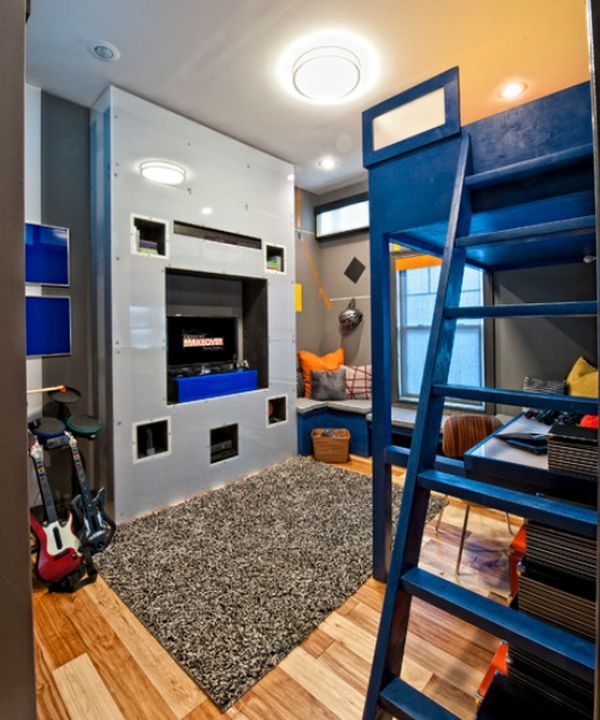 Eclectic Bedroom Interior With Bunk Beds Contemporary Furniture And Blue Accents Throughout