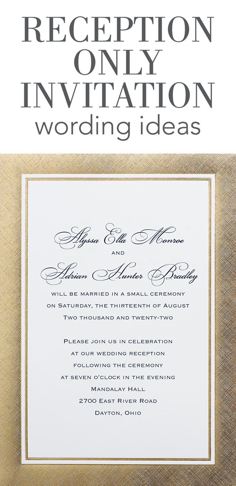 reception invites  Reception only wedding invitations, Reception