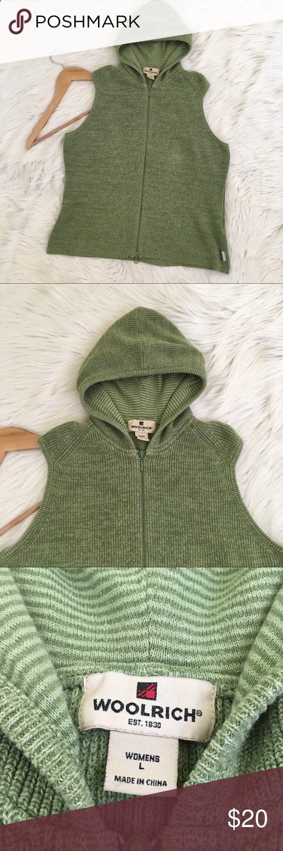 Woolrich Green Sleeveless Hooded Sweater Vest Woolrich Women's Sz ...