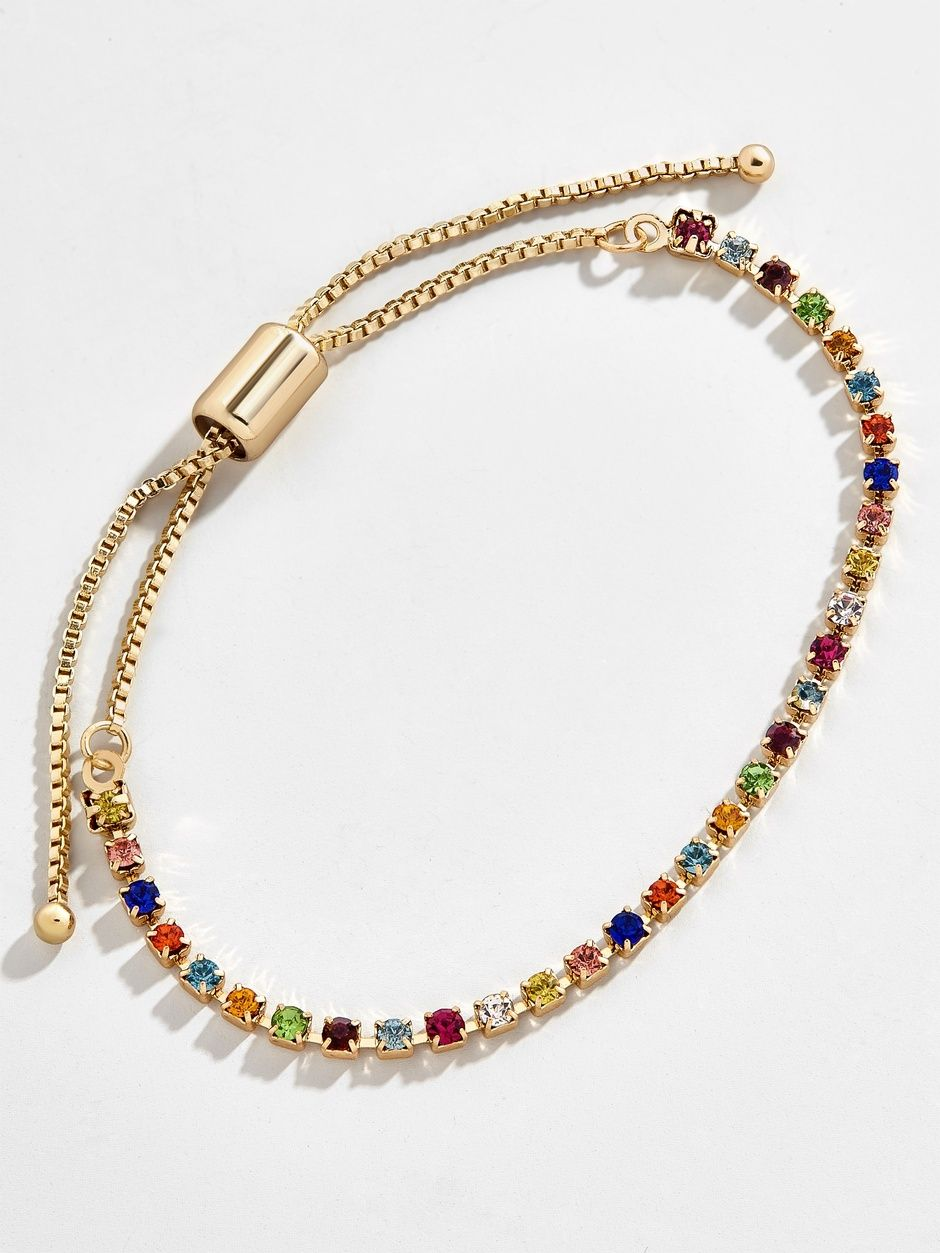 Sterling Silver 925 and Gold Plated Rainbow Mixed Genuine Gem Bangle 7Inch
