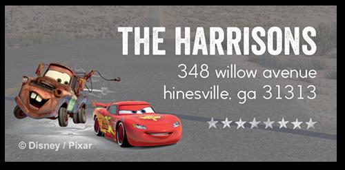Address Labels Disney Pixar Cars Mcqueen And Mater Roadtrip Grey
