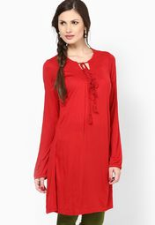 Red Cotton Blend Kurta