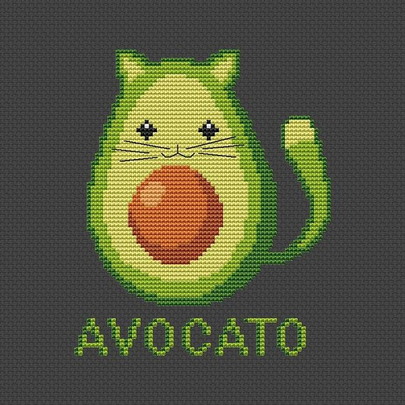 Funny cross stitch pattern Avocato cross stitch Cute Cat cross
