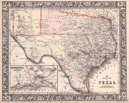 Vintage Map Of Texas Antique Western Maps Of Texas