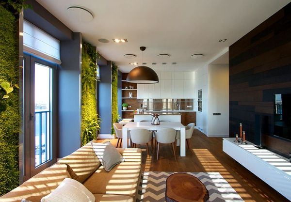 Green walls and grand designs in apartment decor - Adorable Home