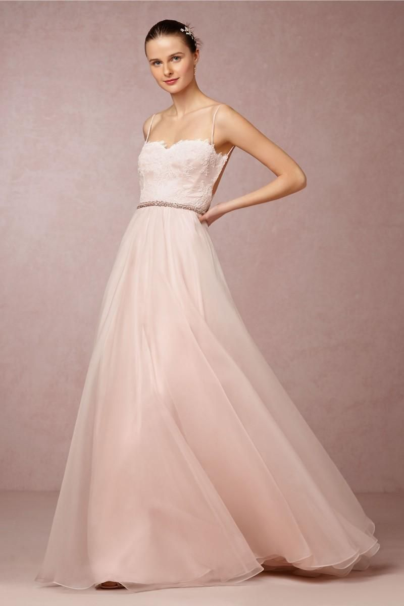 Online Bridal Dresses Bhldn Wedding Gown Blush Pink A Line Lace ...