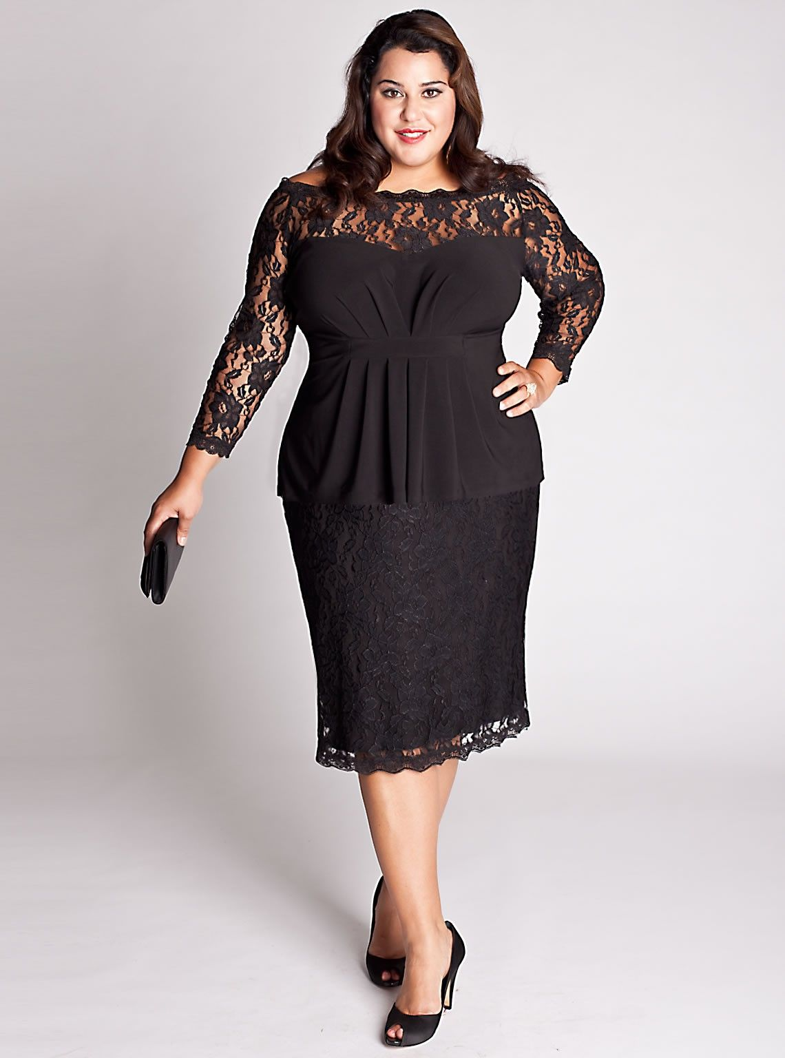 plus sized dress, lace overlay, i would go with an aline skirt but