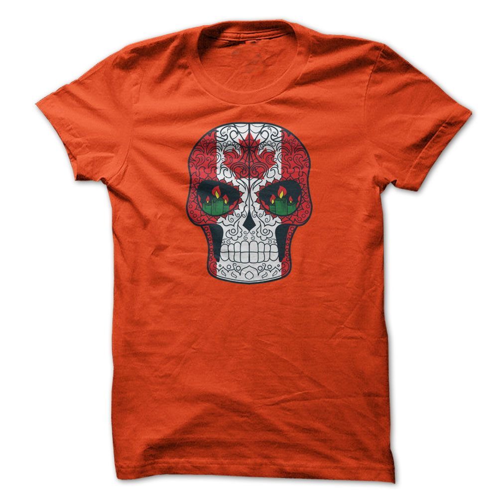 Canadian Flag Maple Leaf Sugar Skull Tshirt Hoodie