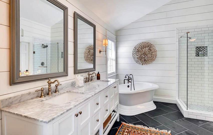 Master Bathroom With Shiplap Walls Pedestal Tub And Subway Tile Shower Shiplap Bathroom Bathrooms Remodel Bathroom Accent Wall