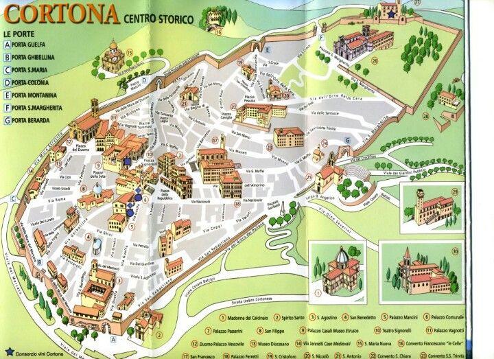 Map of Cortona | Tuscany | Pinterest | Tuscany, Italy and Beautiful ...