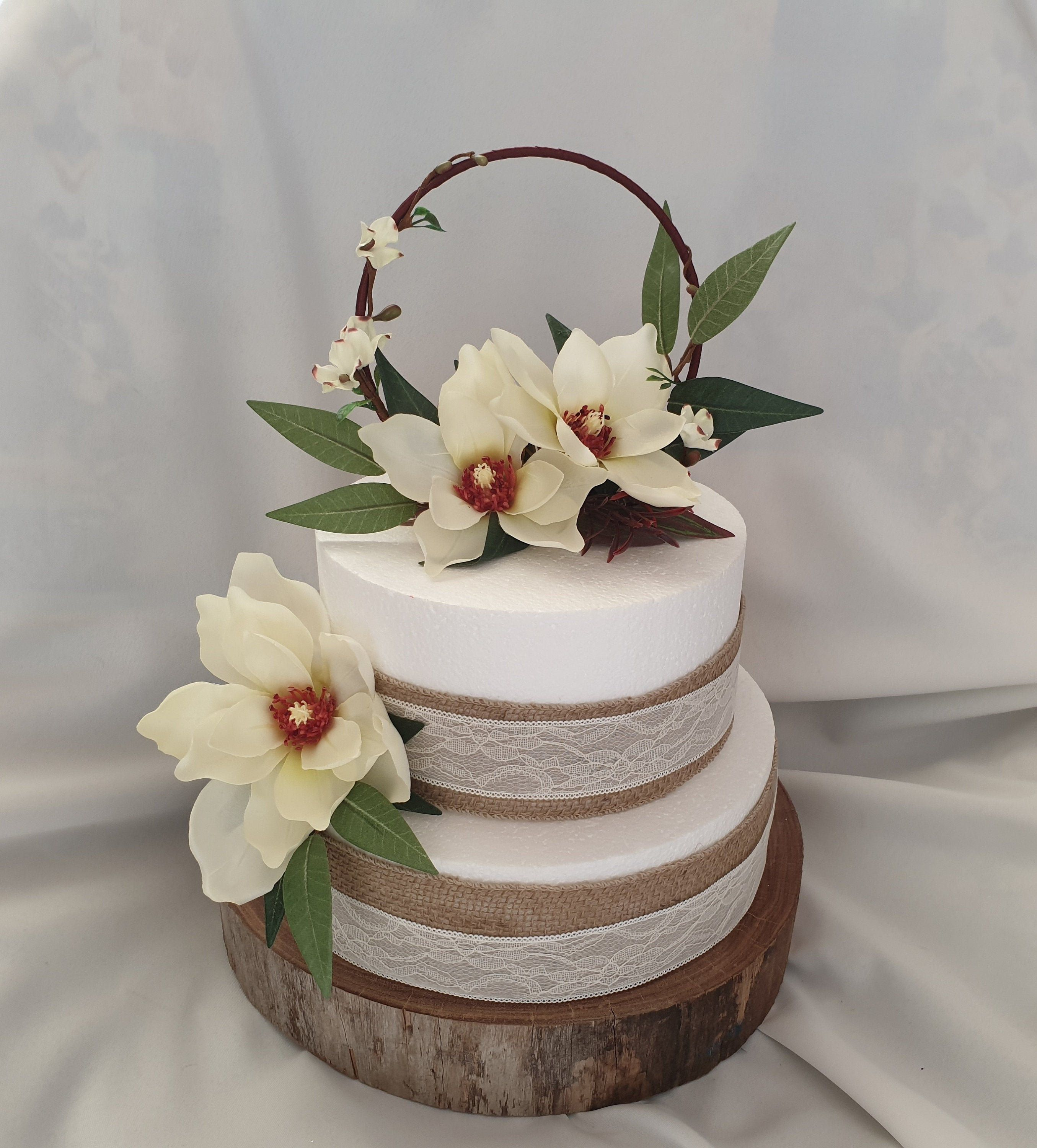 Wedding Hoop Cake Topper Silk Flower Cream Magnolia Rustic Cake Toppers Tropical Cake Topper Rustic Cake Toppers