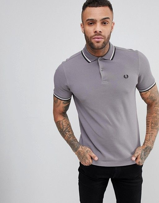 Fred Perry Slim Fit Slim Fit Twin Tipped Polo Shirt In Gray | asos men |  Pinterest | Fred perry, Polo shirts and Polos