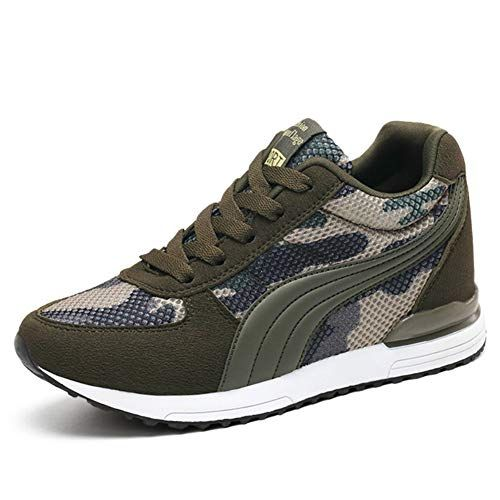 XXHC Women's Camouflage Mesh High Heeled Sneakers Army Green