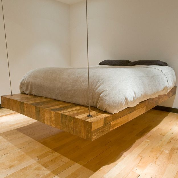 Massive Wooden Slab Suspended Bed Home Is Where The